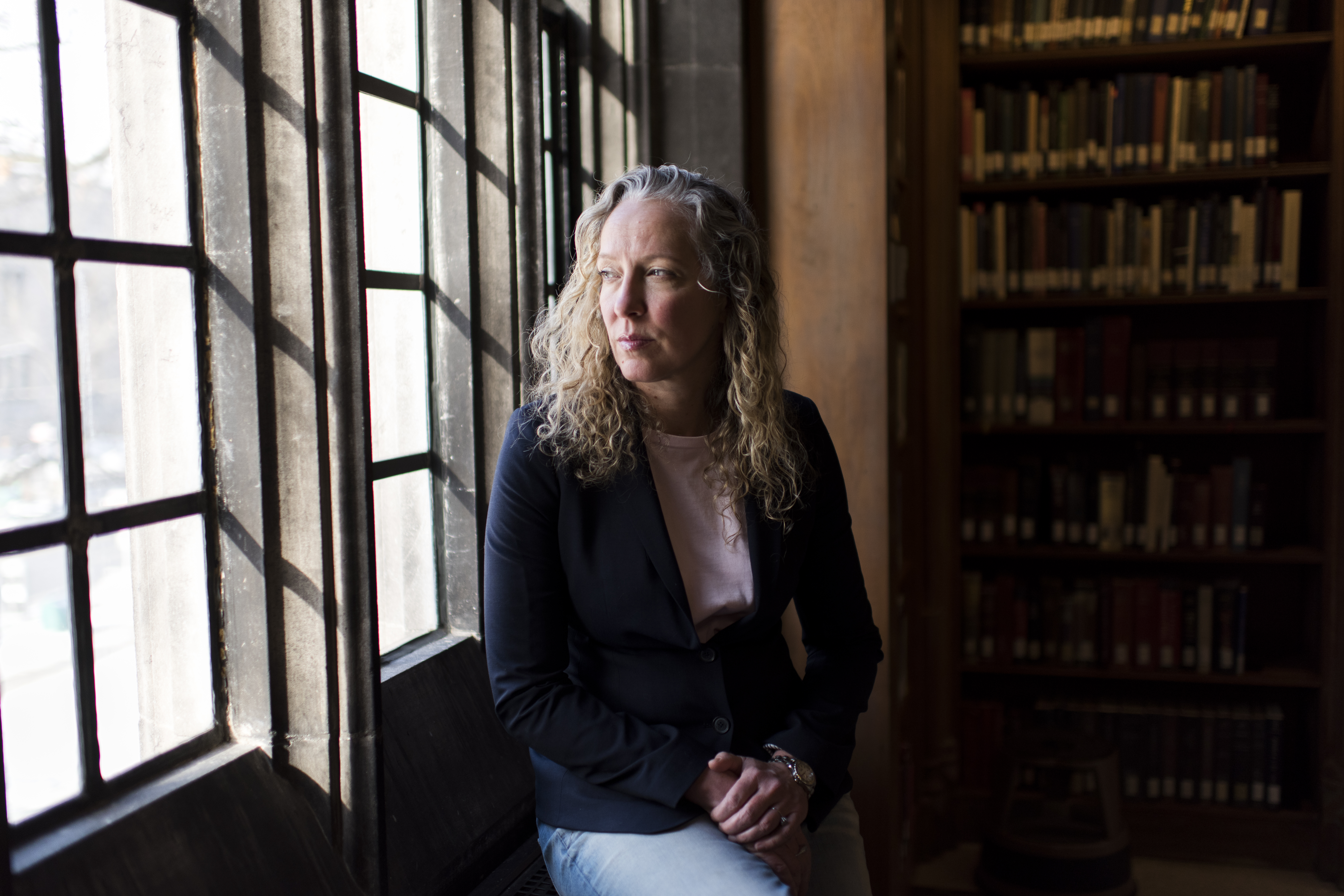 Rebecca Wittmann, UTM's chair of Historical Studies, poses for a portrait at Emmanuel College Library on the University of Toronto Campus in Toronto on Friday January 25, 2019.