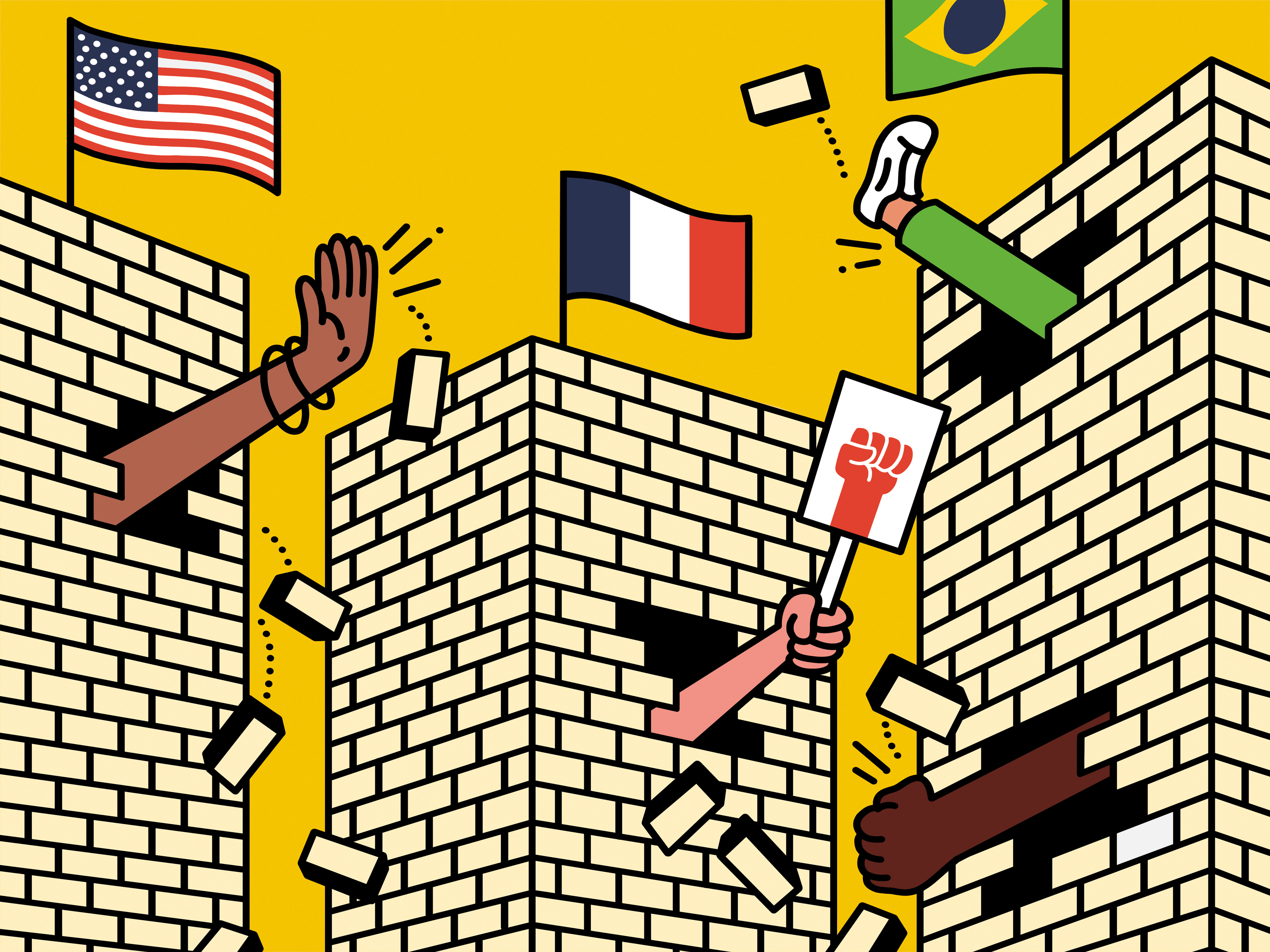 Illustration of brick walls with a number of national flags on them. Hands and feet are breaking through the walls in different directions.