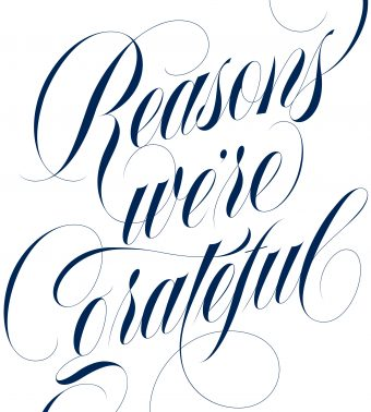"""Reasons we're grateful"" in navy calligraphic script on a white background"