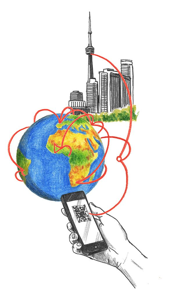 Illustration of the CN Tower, the world and a mobile phone with lines connecting all three