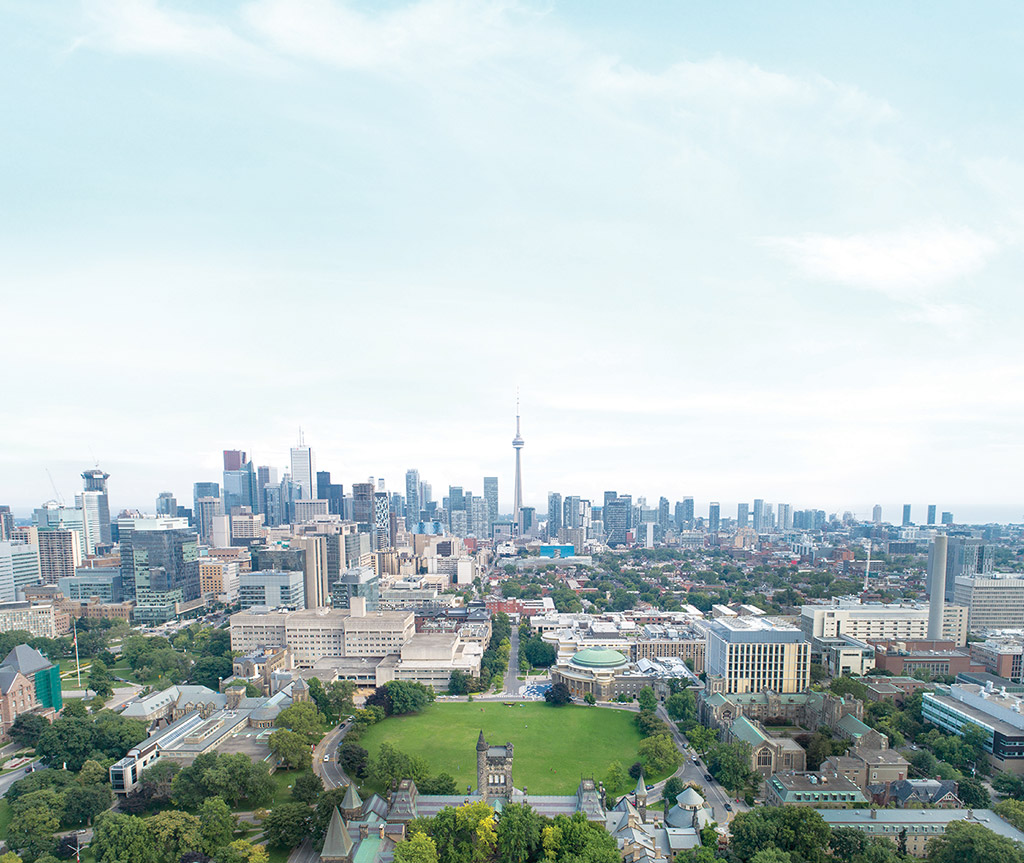 Aerial photo of St. George Campus and the Toronto skyline