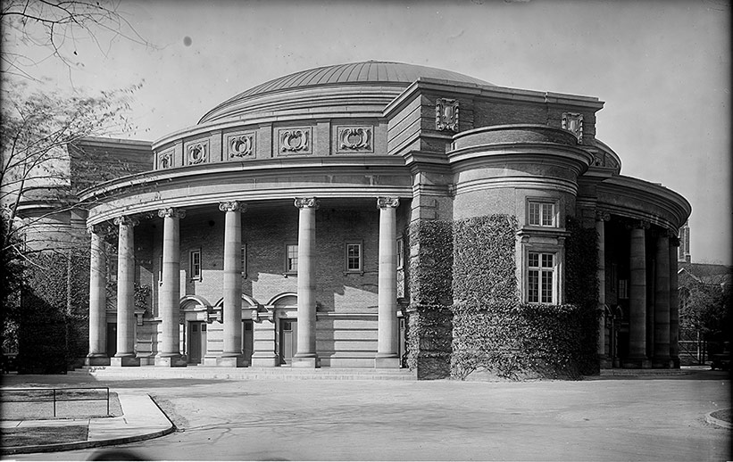 Old black and white photo of Convocation Hall