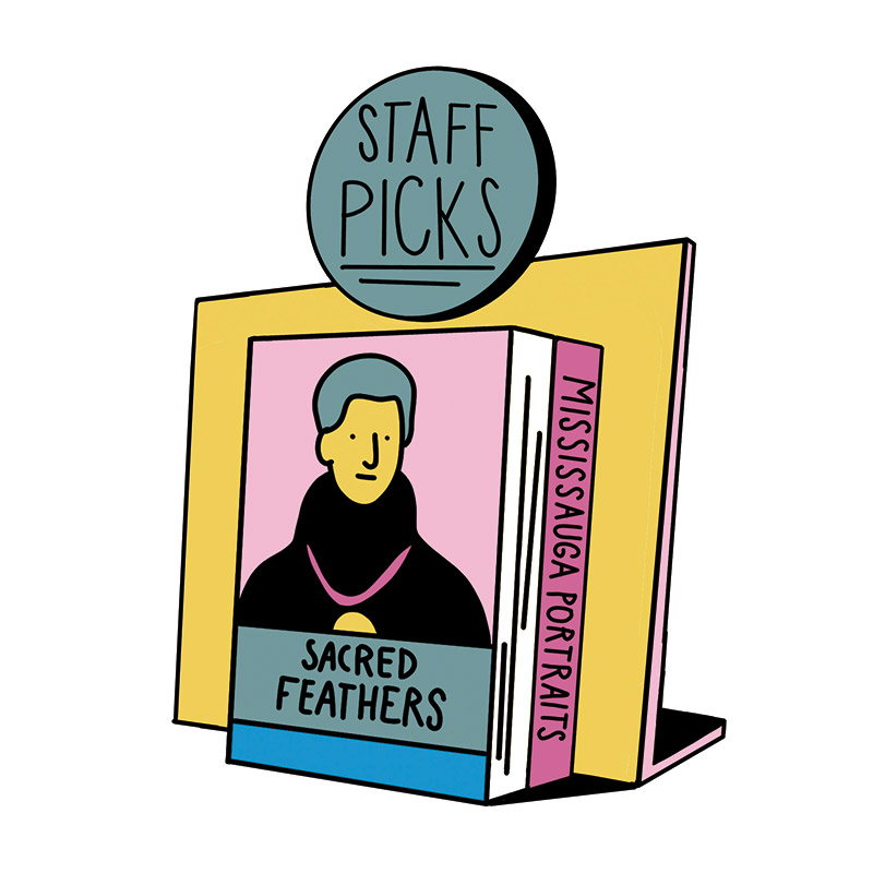 "Book display of Sacred Feathers and Mississauga Portraits labelled ""The Staff Picks"""
