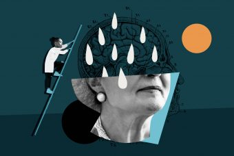 Conceptual illustration depicting a researcher examining the mind in darkness/depression