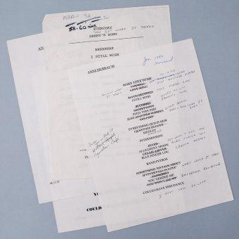 Concert set list pages