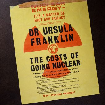 "Poster of Ursula Franklin's talk, ""The Costs of Going Nuclear"""