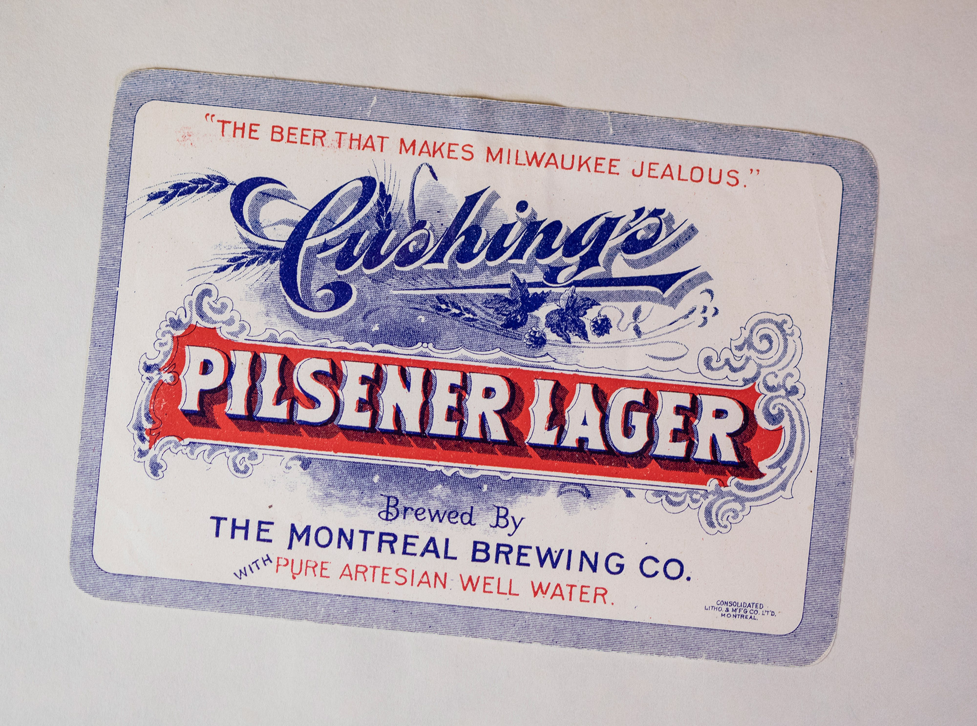 Old Cushing's Pilsener Lager label