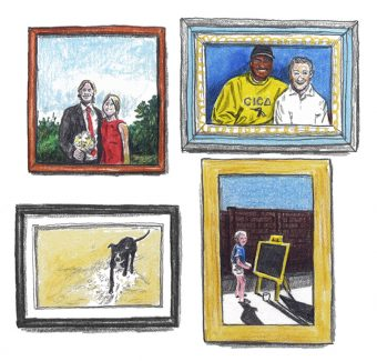 Four framed portraits of a married couple, two friends, a dog and a child