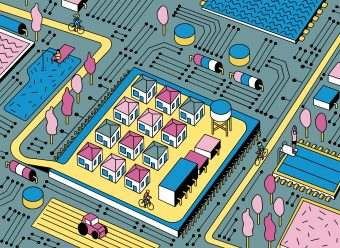 Neighbourhood of streets and houses on an electronic circuit board