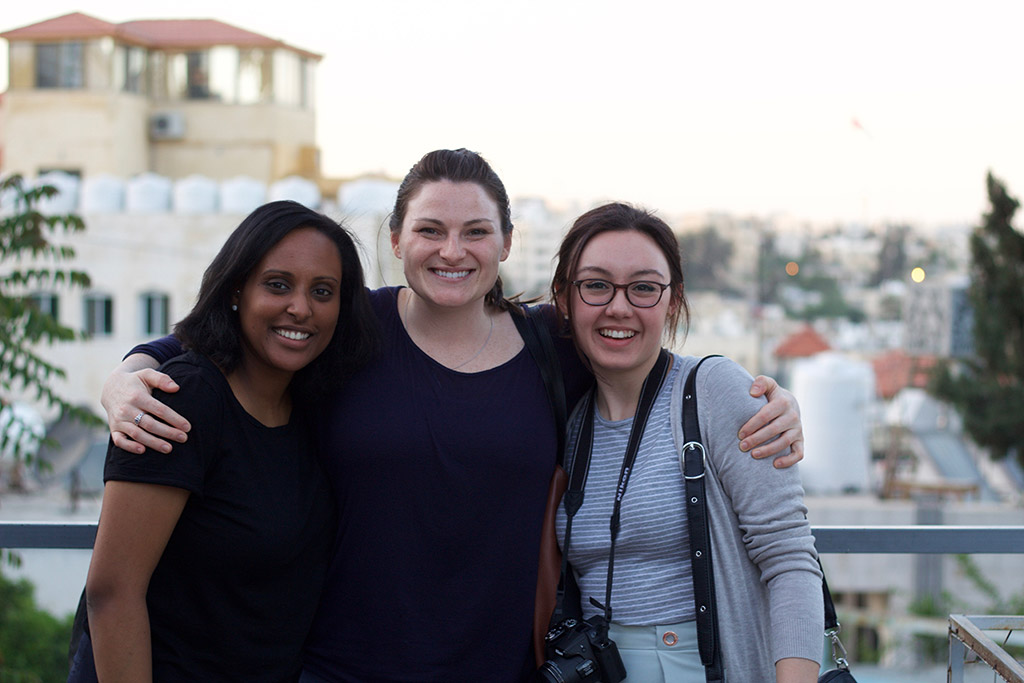 Elizabeth Assefa, Marin MacLeod and Natalie Boychuk posing for an outdoor photo in Jordan