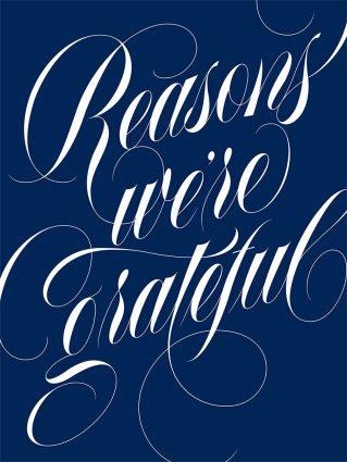 """Reasons we're grateful"" in calligraphy art"