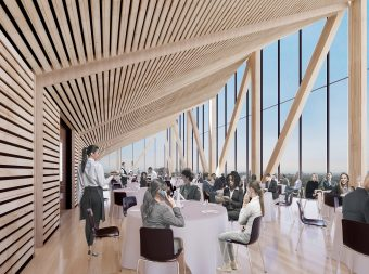 Dining room inside the academic tower above the Goldring Centre for High Performance