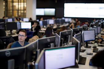 Rows of students working on computers in the BMO Financial Group Finance Research and Trading Lab