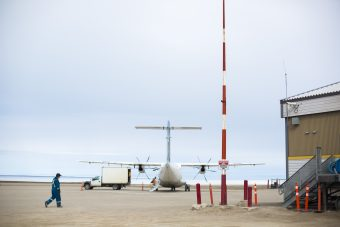 A plane prepares for takeoff at the Gjoa Haven airport on Sunday, June 25, 2017.