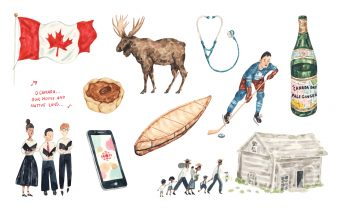 Illustrations of a Canadian flag, a moose, a stethoscope, a hockey player, a Black family heading toward a log cabin, a butter tart, a smartphone with the CBC logo, a birch bark canoe, and a choir singing O Canada