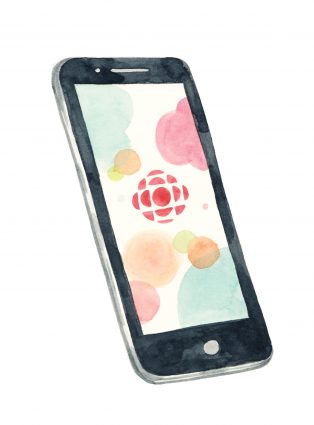 A smartphone with the CBC logo on the screen