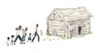 A family approaches a log cabin