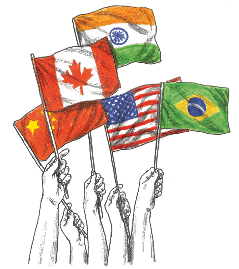 Five hands holding the national flags of Canada, U.S., China, India and Brazil