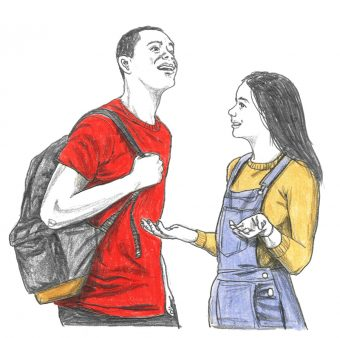 A young man in a red shirt who is carrying a backpack smiles as a young woman wearing overalls and a yellow top is talking to him