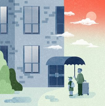 A father with a suitcase holding an umbrella over himself and his son, both of them looking at a residential building