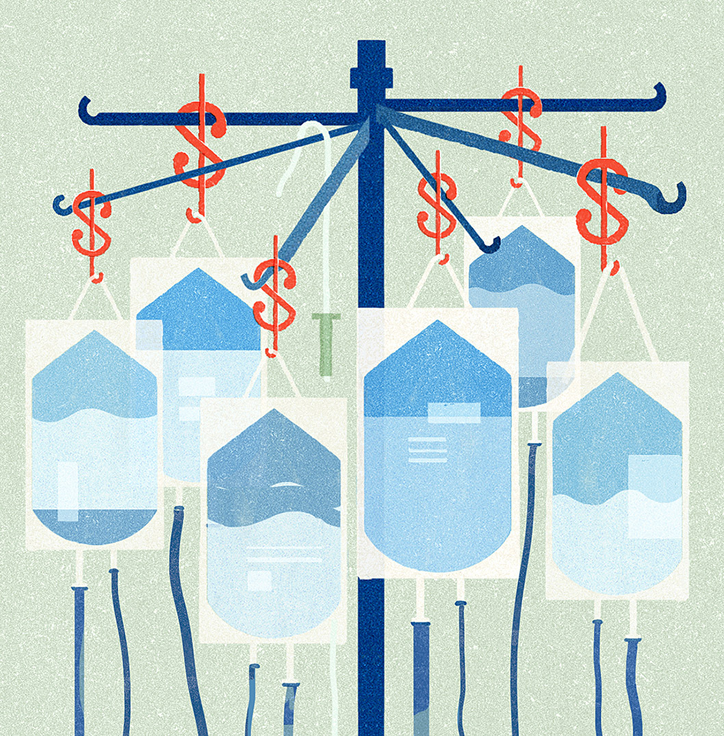 IV bags hanging from dollar signs that are, in turn, hanging from an IV pole