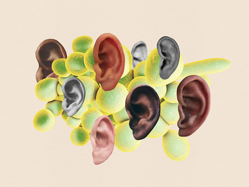 Large green cells surrounded by human ears