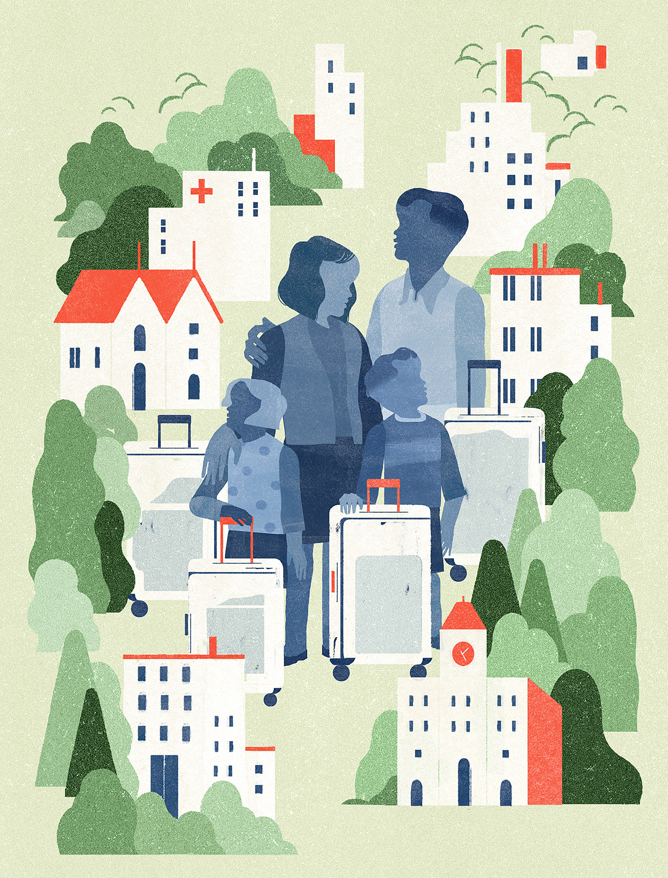 A couple and two children coloured in blue are standing at the centre of the illustration with suitcases and surrounded by miniature-sized buildings and trees