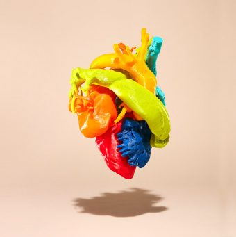 Close up picture of a model of a human heart created with a 3-D printer