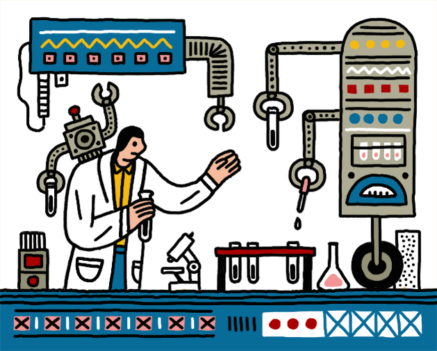 Illustration of a scientist in a lab with AI machines, one of which is pipetting liquid into test tubes