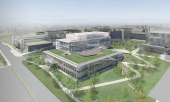 Artist rendering of UTM's Science Building showing a green roof and green spaces surrounding the building