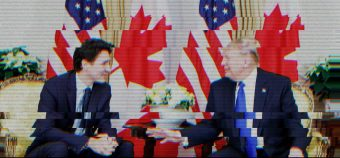 Staticky TV screen image of Prime Minister Justin Trudeau and President Donald Trump in discussion, seated in front of large, alternating Canadian and American flags