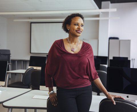 U of T Mississauga professor Rhonda McEwen in a classroom