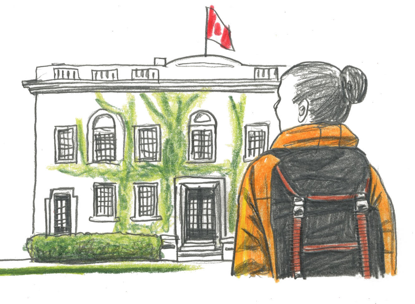 An illustration of a woman standing in front of U of T's Faculty Club