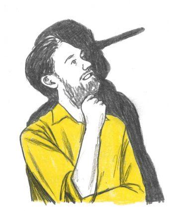 A man whose shadow has a Pinocchio nose