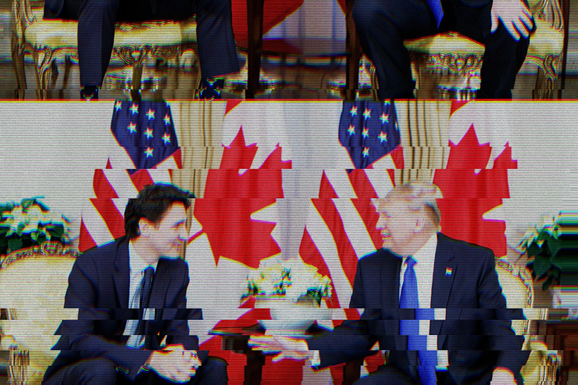 Staticky TV screen image of Prime Minister Justin Trudeau and President Donald Trump in discussion, seated in front of four large, alternating Canadian and American flags, with their legs displaced to the top of the image