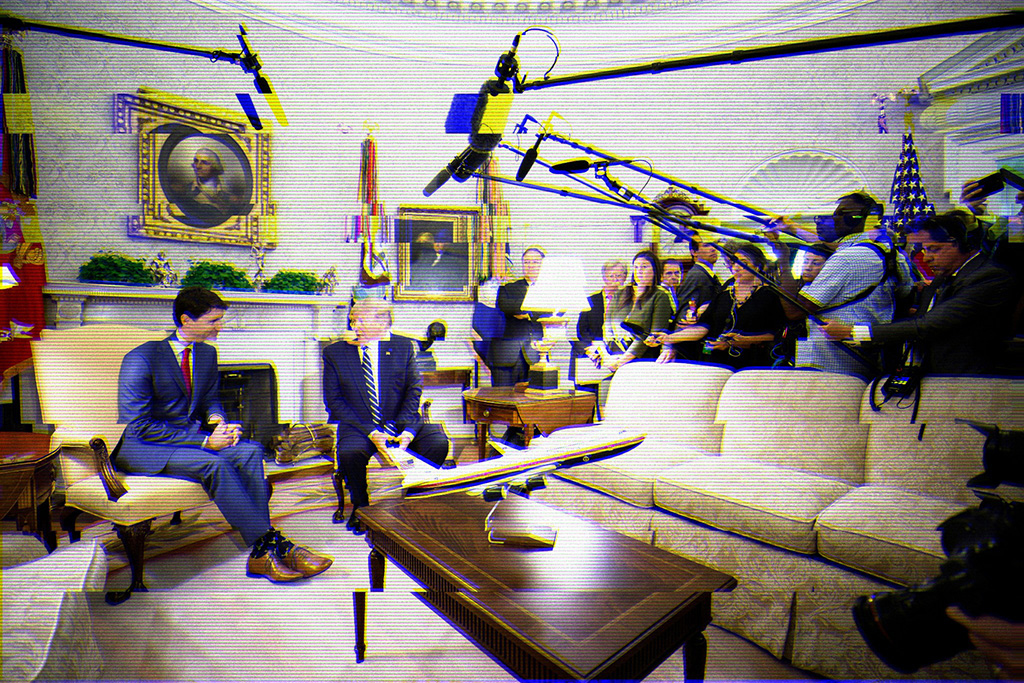 Staticky TV screen image of Prime Minister Justin Trudeau and President Donald Trump in armchairs on the left and a group of reporters watching them from behind a couch