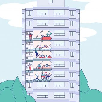 A condo building with a cutaway showing people doing energy-conserving things