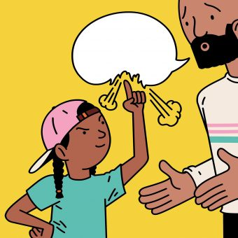 Illustration of a child popping her father's speech bubble