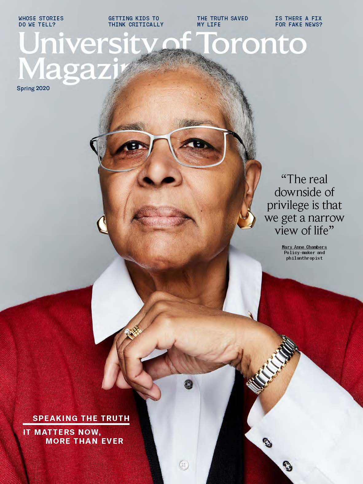 cover of spring 2020 issue of university of toronto magazine, showing mary anne chambers