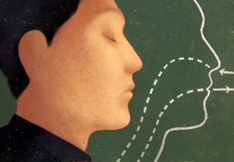 Illustration of a side view of a person's face with eyes closed, next to a chalk outline of the face with arrows showing the flow of breath into the nose and out of the mouth