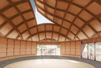 Artist rendering of the interior of the large circular gathering room in the Indigenous House