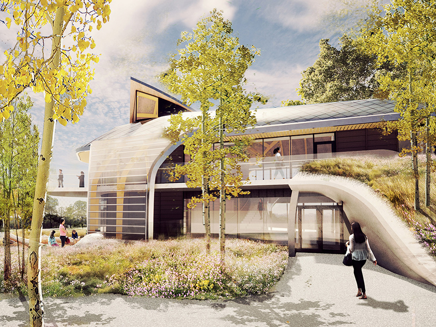 Artist rendering of the Indigenous House and the surrounding trees and grass