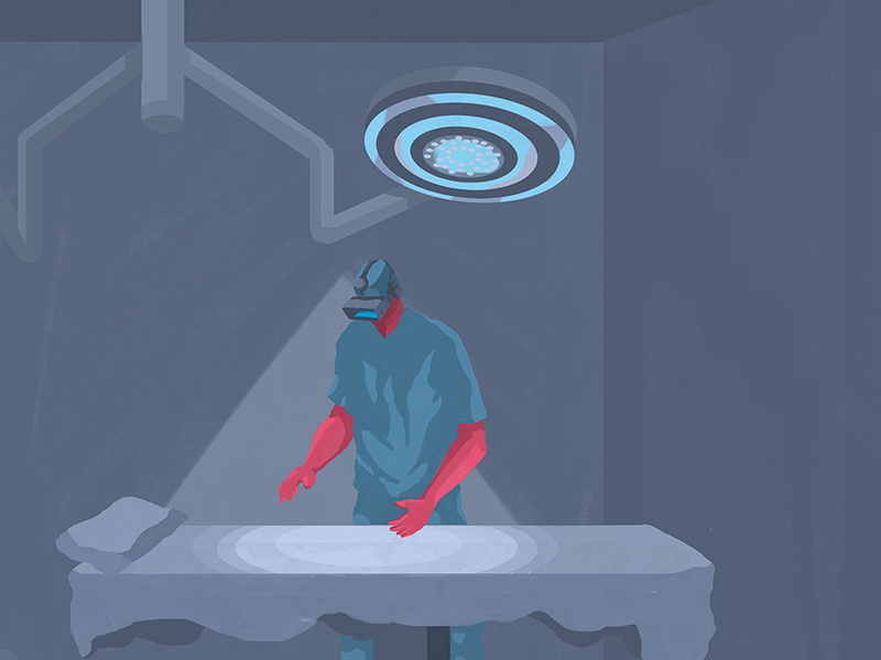 Illustration of a large circular lamp shining down on a doctor wearing a virtual reality headset and holding his arms above an empty operating room bed