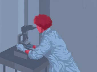 Illustration of a woman in a lab coat looking into a microscope