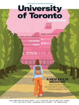 Cover of Winter 2020 issue of University of Toronto Magazine with illustration of a student walking up a tree-lined path toward a university building