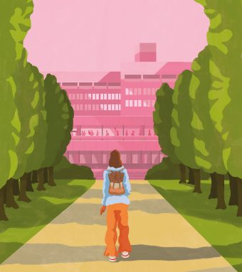 Winter 2020 cover illustration of a student walking up a tree-lined path toward a university building