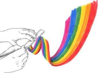 A pair of hands in black and white, holding a ruler against a ribbon of rainbow and cutting it with a paper cutter knife