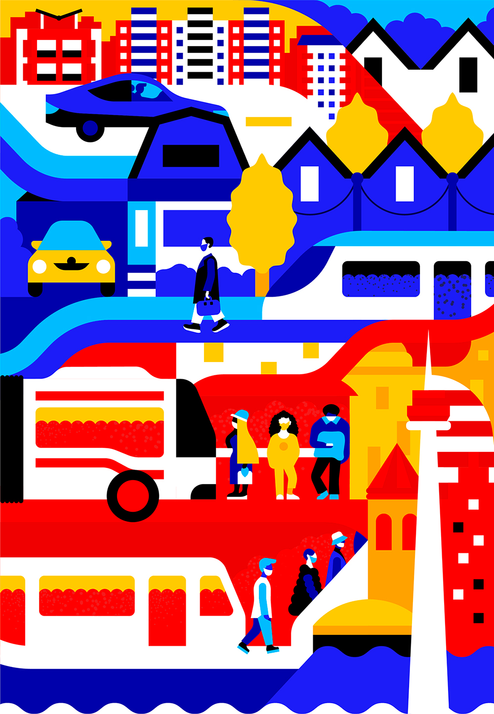 Illustration of people in different areas of Toronto driving a car, walking, boarding a bus and departing from a subway train