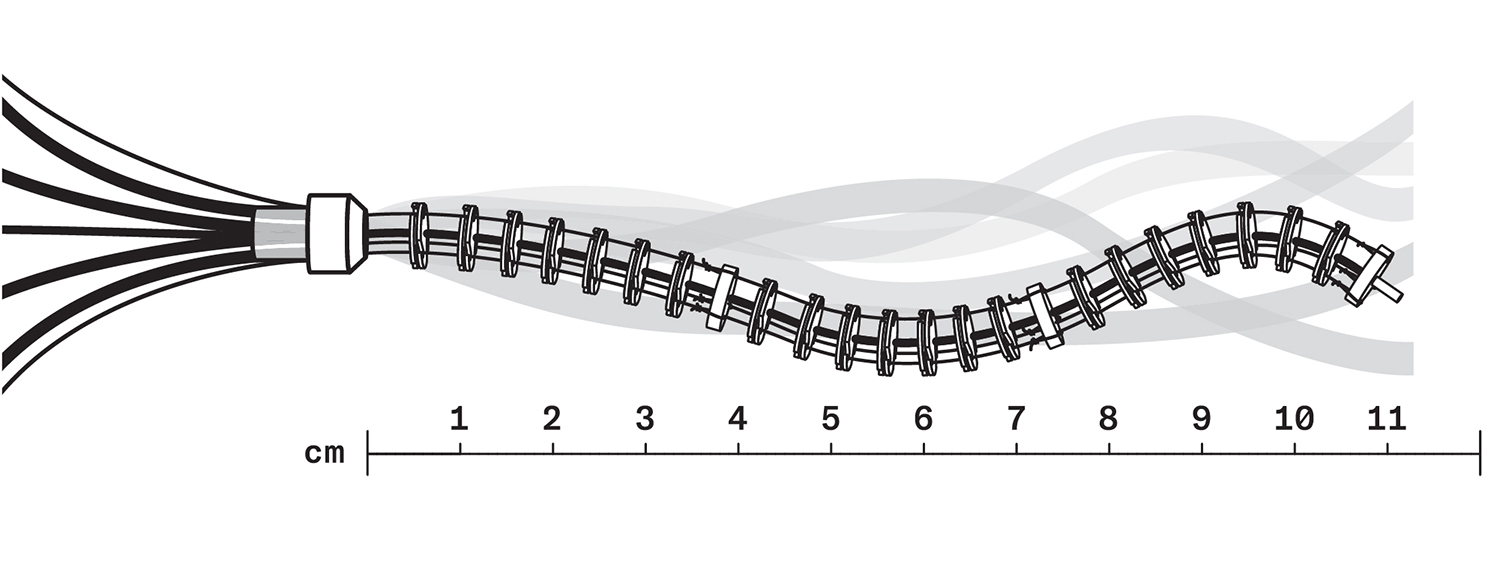 A robot above a scale showing the length as 11 centimetres