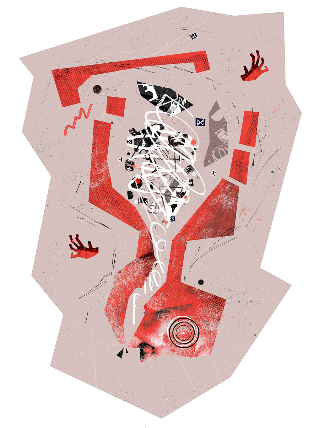 Abstract illustration of a red coloured body, face and hands upside down, with black and white bits and spirals inside